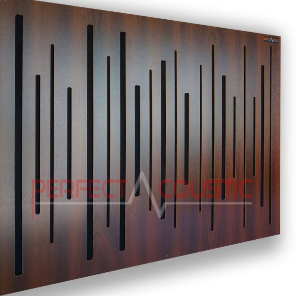 Acoustic panel with diffuser mahogany