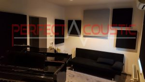bass absorption premium leather acoustic membrane -acoustic panel placed in piano room
