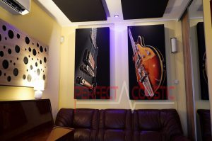 acoustic panels on the wall