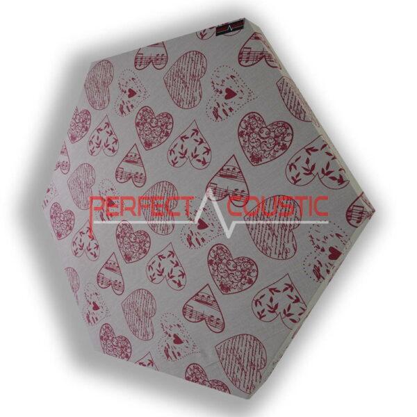 hexagonal acoustic panel-heart patterned